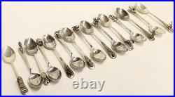 15x Yukon Figural sterling silver spoons HM Sheffield Cooper Bros. Date C 1965