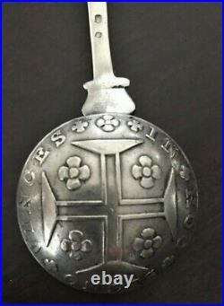 1815 RARE Antique Portuguese 400 REIS COIN STERLING SILVER SOUVENIR SPOON MEDAL