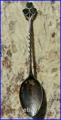 1876 Inlay Connemara Green Marble Shamrock Galway Sterling Silver Souvenir Spoon