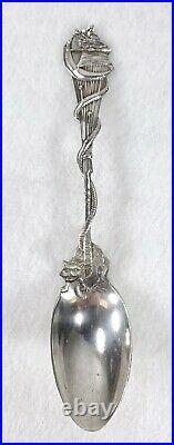 1891 Gorham Daniel Low Sterling Salem Witch Spoon 1692 Black Cat Quarter Moon