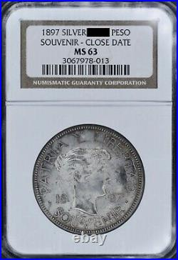 1897 Patria Y Libertad Souvenir Peso Sterling Close Date Stars Below NGC MS63