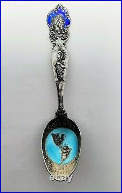 1901 Pan-American Exposition Buffalo New York Sterling Silver Enamel Spoon