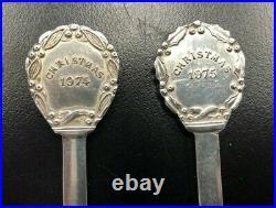 1972 -1979 Gorham Sterling Silver Enamel Christmas Souvenir Spoon 8 Spoons