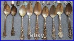 33 Sterling Silver Souvenir Spoons Various Makers 514 grams Dsplay Sell or Scrap