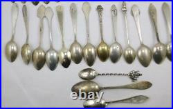 34 Antique Sterling Silver Souvenir Spoons 341 Grams Total Weight