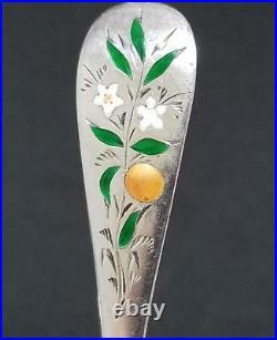 5 Sterling Silver Enameled ORANGE BLOSSOM Fruit Spoons 6 Watson/Mechanics 97g