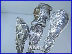 5 Sterling Souvenir Spoons Variety Lot Indians Enamel Columbus etc