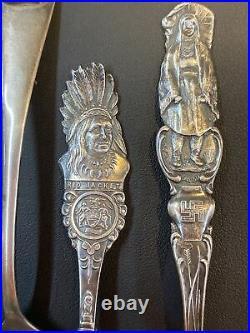 5 Vintage Native American Sterling Silver themed Souvenir spoons 87 Grams