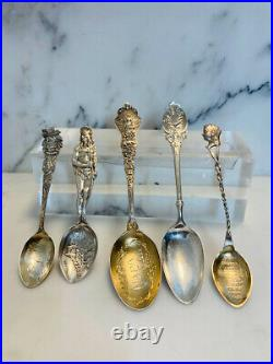 5 Vintage sterling silver souvenir spoons