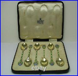 6 STERLING SILVER SPOONS ENAMEL SILVER SPOONS Turner & Simpson Birmingham ca1931