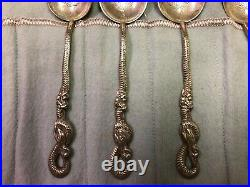 6 Silver NAGASAKI Snake & Rat Spoons Antique Imperial Russian 84 Sterling
