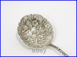 7.5 in Sterling Silver S. Kirk & Son Antique Floral Repousse Serving Spoon