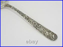 9 1/8 in Sterling Silver S. Kirk & Son Antique Floral Repousse Serving Spoon