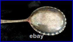 ANTIQUE Daniel Low SALEM WITCH Sterling Silver Souvenir JELLY Crimped SPOON Rare