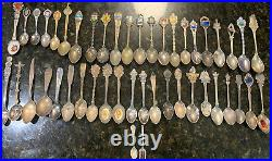 ANTIQUE Mixed Lot 46 STERLING SILVER Pewter Plated Collectible SOUVENIR SPOONS