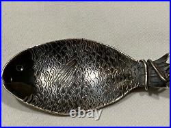 Aesthetic Figural Fish shell fishing rod Sterling Silver Souvenir Spoon