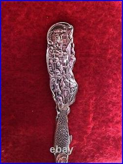 Alaska Souvenir Spoon sterling Silver 1907 Sled Dog Husky Salmon Fish Gold Wash