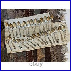 Amazing Lot of 30 Vintage + Antique Sterling Silver Souvenir Spoons- 538g