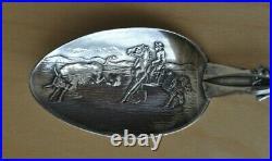 American Indian, Cowboy, Steer Roping Sterling Silver Spoon