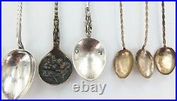 Antique. 925 Sterling Silver &. 800 Silver Souvenir Spoons + Demi Tasse Spoons