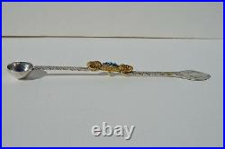 Antique Chinese Tibetan Sterling Silver Medicine Spoon Ornate