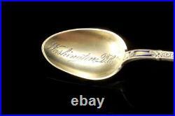 Antique Enamel Date May 30 1872 Washington Sterling Demitasse Spoon A81564