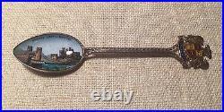 Antique English Sterling Silver Conway Castle & Bridge Enamel Souvenir Spoon