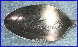 Antique Estate Sterling Silver Souvenir Spoon Los Angeles Ca Indian Rifle Chief