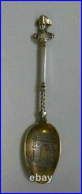 Antique European Sterling Silver & Gold Wash Paris Triumphal Arch Souvenir Spoon