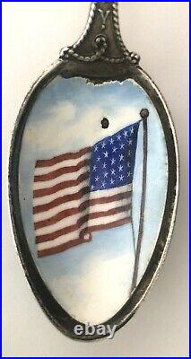 Antique Gorham Army Navy Sterling Silver Spoon with Enamel Flag Military c. 1875