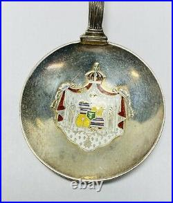 Antique H. F. Wichman King Kamehameha Hawaii Seal Sterling Enamel 5.5 Spoon
