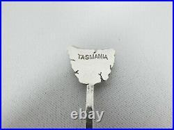 Antique Sargisons Australian Sterling Silver Souvenir Spoon Map Tasmania Shell