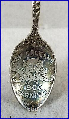 Antique Sterling Silver 1900 Souvenir Spoon Carnival New Orleans Mardi Gras