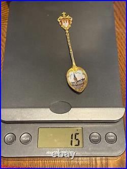 Antique Sterling Silver & Enamel Gold Washed Hamburg Rathaus Souvenir Spoon