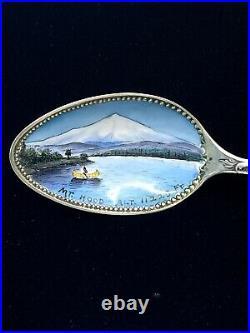 Antique Sterling Silver Enamel OREGON Mountains Lake Souvenir Spoon 5 7/8 Long