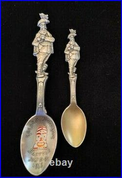 Antique Sterling Silver Souvenir 2 Spoon 1912 Golden Potlatch Seattle Weatherman