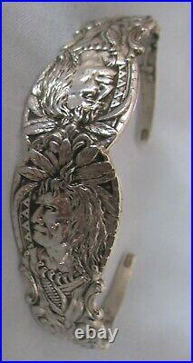 Antique Sterling Silver Spoon Figural Indian 2 Headed Spoon Bracelet