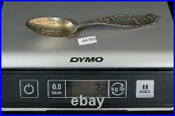 Antique Sterling Silver Spoon The Historic Stump 1844 Monogrammed 1892, 32g & 6