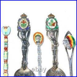 Antique/Vintage Enamel Sterling Silver Native Souvenir Spoon Set