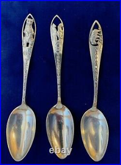 Antique/Vintage Sterling Silver BEAR YELLOWSTONE Souvenir Spoons, Lot of (3)