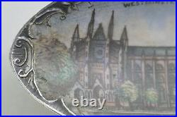 Antique Westminster Abbey England Sterling Silver & Enameled Souvenir Spoon