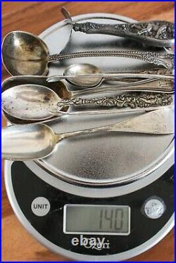 Assorted Antique 925 Sterling Silver Souvenir Spoon Silverware Lot 140 grams