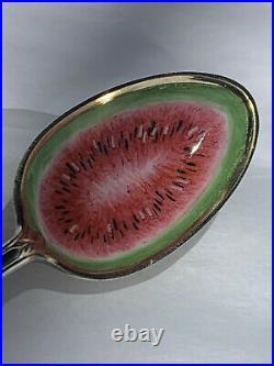 Black Americana Enameled Watermelon Sterling Spoon Atlanta Charles W. Crankshaw