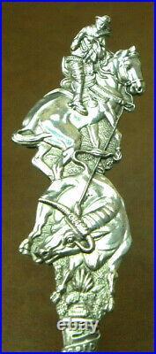 Bronc Riding Cowboy PIKE PEAK, GODS GARDEN Sterling Souvenir Spoon MAYER & BROS