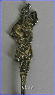 Cowboy On Horse Roping A Steer Round-Up Pendleton ORE Sterling Souvenir Spoon