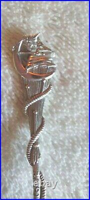 Daniel Low Sterling Silver Salem Witch Moon Cat Broom SPOON Souvenir GORHAM