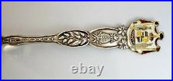 Diamond Head Honolulu Hawaii TERRITORY Enameled Sterling Silver Souvenir Spoon