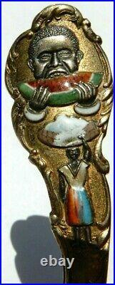 Early 1900's STERLING & ENAMEL WATERMELON AFRICAN AMERICAN SOUVENIR SPOON