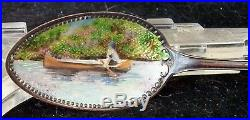 Enamel Spoon Sterling Silver Souvenir Canoe Antique Vintage Rare Lake Geneva Wi