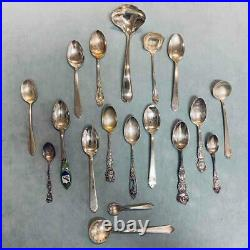 Estate Mixed Lot 17 Sterling Silver Serving Souvenir Spoons Teaspoons Ladle 368g